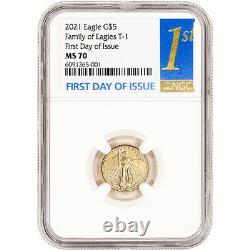 2021 American Gold Eagle 1/10 Oz 5 $ Ngc Ms70 Premier Jour D'émission 1er Étiquette
