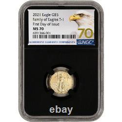 2021 American Gold Eagle 1/10 Oz 5 $ Ngc Ms70 Premier Jour D'émission Grade 70 Noir