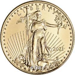 2021 American Gold Eagle 1/2 Oz 25 $ 1 Rouleau Quarante 40 Pièces Bu Dans Mint Tube