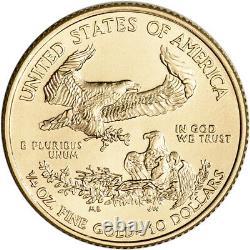 2021 American Gold Eagle 1/4 Oz 10 $ 1 Rouleau Quarante 40 Pièces Bu Dans Mint Tube