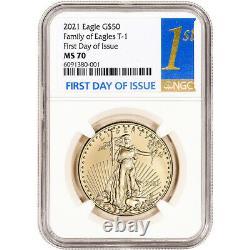 2021 American Gold Eagle 1 Oz 50 $ Ngc Ms70 Premier Jour D'émission 1er Étiquette