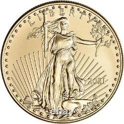2021 American Gold Eagle 1 Oz 50 $ Ngc Ms70 Premier Jour De L'émission 1er Label Noir