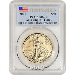 2021 American Gold Eagle 1 Oz $50 Pcgs Ms70 First Strike