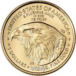 2021 American Gold Eagle Type 2 1/10 Oz 5 $ Ngc Ms70 Première Journée Numéro 70 Étiquette