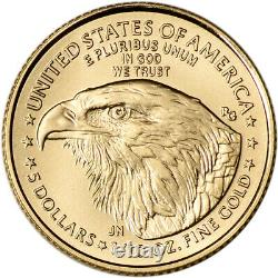 2021 American Gold Eagle Type 2 1/10 Oz 5 $ Ngc Ms70 Première Journée Numéro 70 Noir
