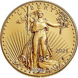 2021 American Gold Eagle Type 2 1 Oz 50 $ 1 Roll Twenty 20 Bu Pièces En Tube À Menthe