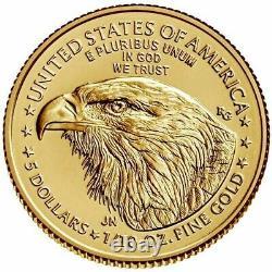 2021 Type 2 1/10 Oz American Gold Eagle 5 $ Livraison Gratuite Non Circulée
