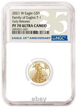 2021 W 1/10 Oz Proof Gold Eagle Ngc Pf70 American Eagle Dixième Once