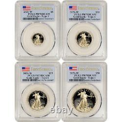 2021 W American Gold Eagle Proof 4-pc Year Set Pcgs Pr70 Dcam Première Grève