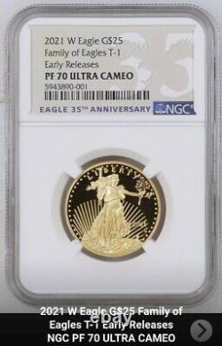 2021 W Proof 1/2 Oz 25 $ Gold Eagle Ngc Pf70 Er