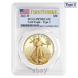 2021-w 1 Oz 50 $ Proof Gold American Eagle Type 2 Pcgs Pf 70 Fs Dcam