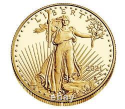 2021-w 1 Oz American Eagle One Ounce Gold Proof Coin (21ebn) Type 2 Confirmé