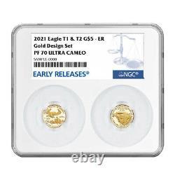2021-w Proof T1 Et T2 American Eagle 1/10 Oz Gold Set Designer Edition Ngc Pf7