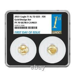 2021-w Proof T1 Et T2 American Eagle 1/10 Oz Gold Set Designer Edition Ngc Pr7