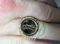 22 Kt 1/10 Oz American Eagle Coin Set In 14 Kt Solide Jaune Or Coin Ring