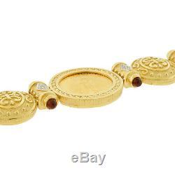 22k Gold Coin American Eagle 14k Bracelet Estate Diamond Bullet Lien Mens Ladies