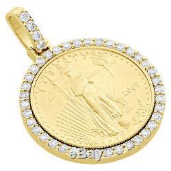 22k Or American Eagle Liberté Monnaie 1/2 Onces. Pendentif Diamant De Montage 2,25 Ct
