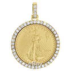 22k Or American Eagle Liberté Monnaie 1/4 Oz. Pendentif Diamant De Montage 1,06 Ct