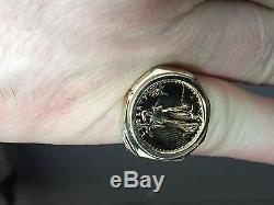 22k Or Fin 1/10 Oz American Eagle Coin In14k Bague En Or Jaune