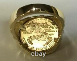 22k-fine Gold 1/10 Oz Us American American Eagle Pointe De Nugget D'or De L'or 14k