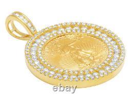 24k Or Jaune American Eagle Liberty 1/4 Oz Coin Diamond Frame Pendentif 3.0 Ct