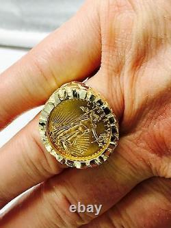 27 MM Nugget Or 14k Hommes Coin Ring Avec 22 K 1/4 Oz American Eagle Coin