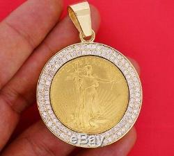 3 Cts Blanc Diamant Monté Sur Pendentif Pièce D'or De 24k American Eagle Asaar