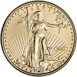 Américaine Gold Eagle 1/10 Oz $ 5 Au Hasard Date 1 Rouleau 50 Pièces Bu Mint Tube