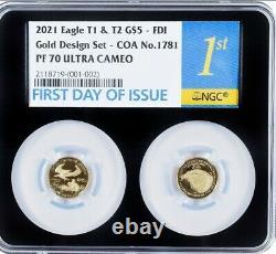 American Eagle 2021 1/10 Oz Gold Two-coin Set Designer Ngc Pf70 Fdi Fdoi Double