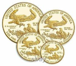 American Eagle 2021 Gold Proof Four-coin Set 4 Pièce 21ef In Hand Confirmé