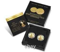 American Eagle 2021 One-tenth Ounce Gold Two-coin Set Designer Edition In Hand