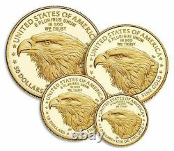American Eagle 2021 Or Proof Four-coin Set 21efn Confirmé Gratuit Nuitée