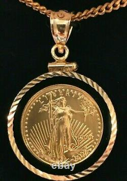 American Eagle $5 Gold Coin Collier- 1/10 Oz- 14kt Black Onyx Bezel+ 14kt Chain