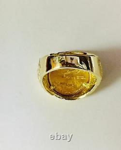 Bague De Pièces De Pièces De Pépite De 25 MM D'or 14k Avec Une Pièce De Monnaie Américaine De 22 K 1/10 Oz