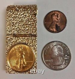 Clip Argent Or Jaune 14k Avec 1/4 Oz American Eagle Gold Coin
