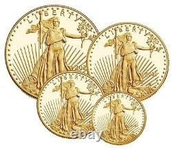 Confirmé 2021 American Gold Eagle Proof 4 Coin Set Limited