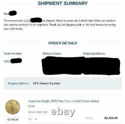 Confirmé Expédié! American Eagle 2020 One Ounce Gold Pièce Non Circulée 20eh