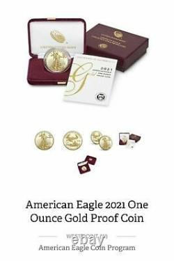 Dans La Main, Sealed! Dernière Conception American Eagle 2021 One Ounce Gold Proof Coin 21eb