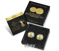 En Hand American Eagle 2021 One-tenth Ounce Gold Two-coin Set Designer Edition