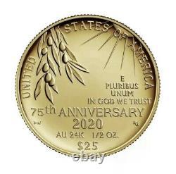 Fin De La Seconde Guerre Mondiale 75e Anniversaire 24-karat 1/2oz Gold Coin Livraison Gratuite