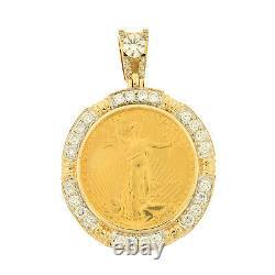 Heavy 22k Gold American Eagle Coin 1/2oz Diamond Pendentif 14k Lunette Hommes