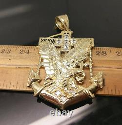 Homme 10k Or Jaune 26 Chaîne De Corde 10k Anchor Aigle Américain Charm
