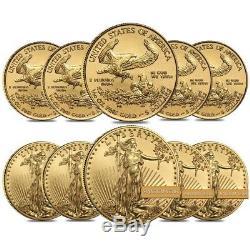 Lot De 10 1/10 Oz D'or American Eagle Pièce De 5 $ Bu (random Année)