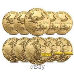 Lot De 10 1 Oz D'or American Eagle 50 $ Monnaie Bu (random Année)
