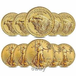 Lot De 10 2021 1/10 Oz Aigle D'or Américain $5 Coin Bu Type 2