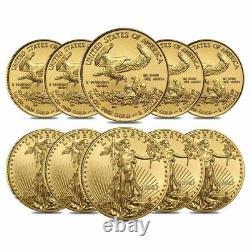 Lot De 10 2021 1/10 Oz Gold American Eagle $5 Coin Bu