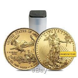 Lot De 2 1/10 Oz D'or American Eagle Pièce De 5 $ Bu (random Année)