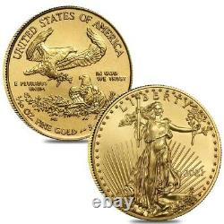 Lot De 2 2021 1/10 Oz Gold American Eagle $5 Coin Bu