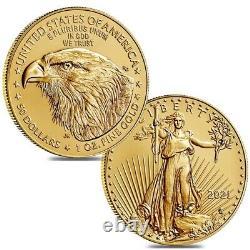 Lot De 2 2021 1 Oz D'or Aigle Américain 50 $ Pièce Bu Type 2