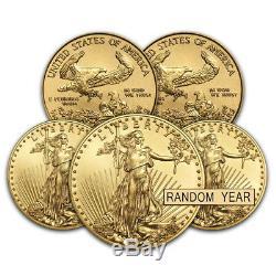 Lot De 5 1/10 Oz D'or American Eagle Pièce De 5 $ Bu (random Année)